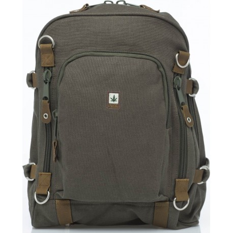 Pure green and leather canvas backpack