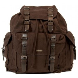 Big old brown leather backpack