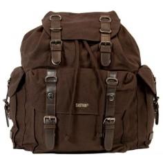 Grande vieja mochila de cuero marrón