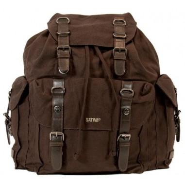 Gros sac à dos cuir ancien marron