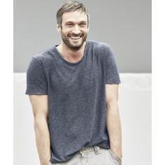 Tee-shirt chiné col croisé coton bio chanvre