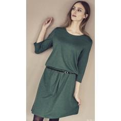 Elégante robe cintrée à la taille, coton bio chanvre