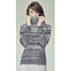 Turtleneck pullover with knitted colour gradient