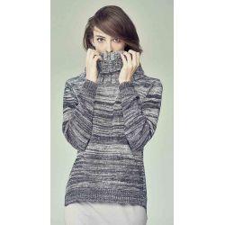 Suéter mujer grande de algodón orgánico de cuello alto / cáñamo