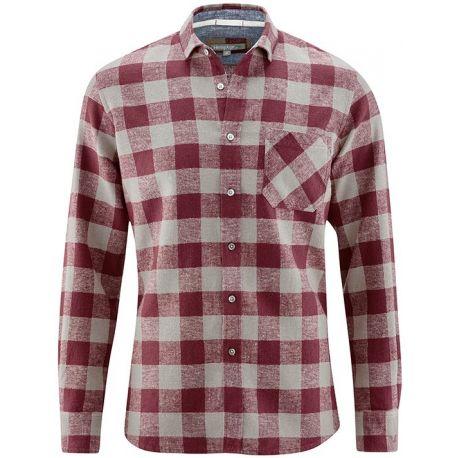 Cáñamo y algodón orgánico camisa de tela escocesa