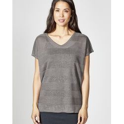 T-shirt V-neck pure hemp