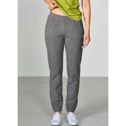Slim woman jogging pants