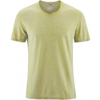 T-shirt mottled cotton cross col organic hemp