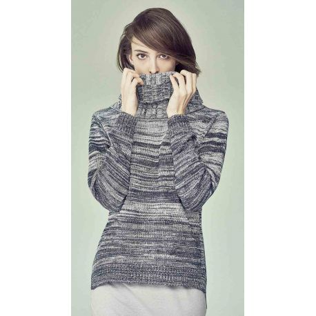 Sweater woman big organic cotton Turtleneck / hemp