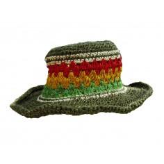 Hat hook hemp and cotton - green-.